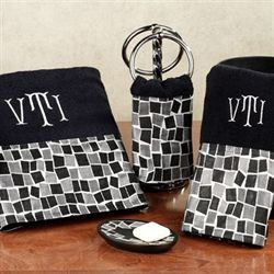 Black Mosaic Stone Towel Set Bath Hand Wash
