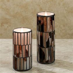Distressed Mosaic LED Candle Multi Warm