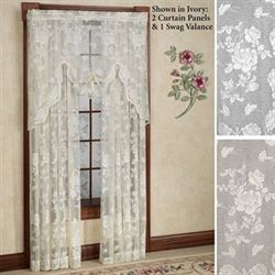 Abbey Rose Lace Curtain Panel