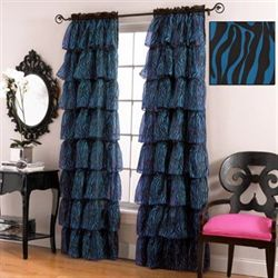 Gypsy Blue Zebra Ruffled Curtain Panel