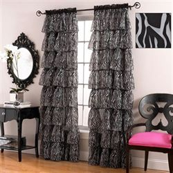 Gypsy Zebra Ruffled Curtain Panel White