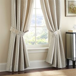 Olivette Wide Tailored Curtain Pair Ecru 110 x 84