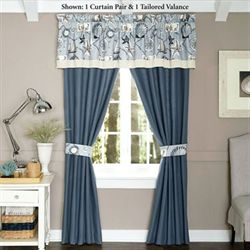 Yachtsman Tailored Curtain Pair Celestial Blue 82 x 84