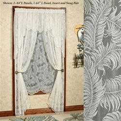 Palm Leaves Lace Tailored Curtain Panel Ivory