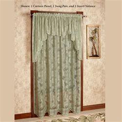 Palm Leaves Lace Tailored Curtain Panel Sage