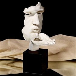 Hand Blowing Kiss Sculpture White