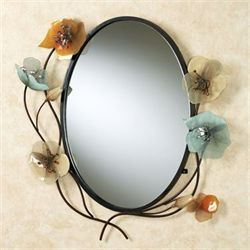 Tuscany in Bloom Oval Wall Mirror Brown