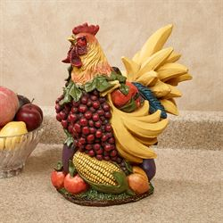 Beau Fruitful Harvest Rooster Table Sculpture Multi Jewel
