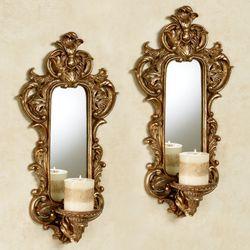 Lyssandra Mirrored Wall Sconces Autumn Gold Pair
