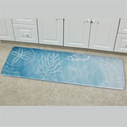 Coastal Waves Cushioned Runner Mat Light Blue 55 x 20