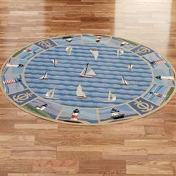 New Colonial Lighthouse Round Rug Blue 76 Round