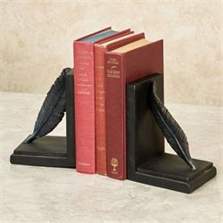 Feather Bookends Black Pair