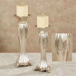 Krystalynn Paisley Candleholder Set Platinum Set of Two