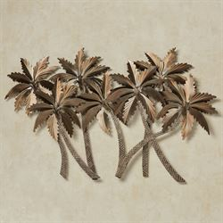 Tropical Palm Grove Metal Wall Sculpture Bronze
