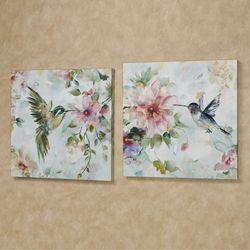 Hummingbird Harmony Canvas Wall Art Multi Pastel Set of Two