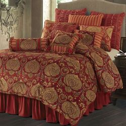 Lorenza Comforter Set Dark Red