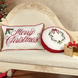 Holly Wreath Embroidered Pillow Ivory Rectangle