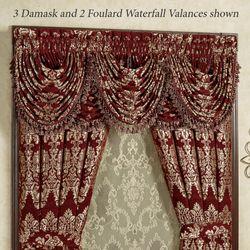 Dynasty Damask Waterfall Valance Merlot 42 x 33