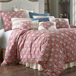 Bandera Comforter Bed Set Dark Red