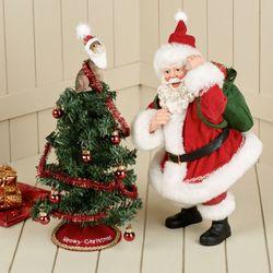 Tree Toppler Clothtique Santa Red Set of Two