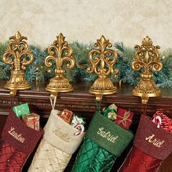 Fleur de Lis Stocking Holders Antique Gold Set of Four