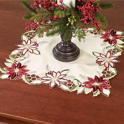Garnet Poinsettia Small Square Table Topper Cream 20 Square