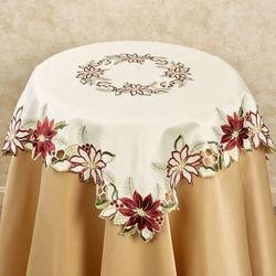 Garnet Poinsettia Large Square Table Topper Cream 36 Square