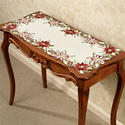 Garnet Poinsettia Table Runner Cream 15 x 36