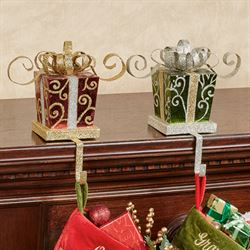 Holiday Gift Stocking Holders Red/Green Set of Two
