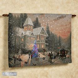 Victorian Christmas Lighted Wall Tapestry Blue 36 x 26
