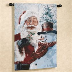 Santa and Frosty Wall Tapestry Red