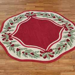 Holly Wreath Round Rug Red 56 Round