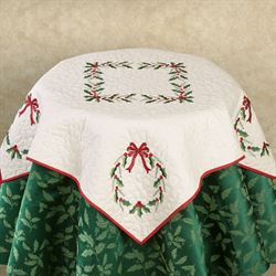 Beau Holly Wreath Embroidered Holiday Table Topper