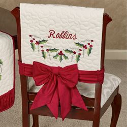 Holly Wreath Chair Covers Ivory Set of Two
