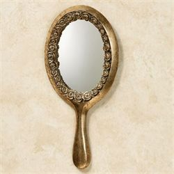 Rose Bouquet Wall Hand Mirror Gold