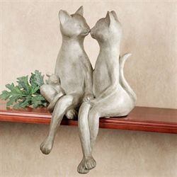 Kissing Cats Shelf Sitter Whitewash