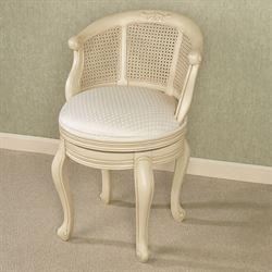 Superbe Belhurst Antique Ivory Swivel Vanity Chair