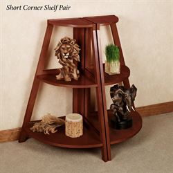 Kimber Short Corner Shelf Pair Classic Cherry Three Tier