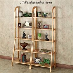 Kimber Tall Ladder Shelf Only Natural Oak Five Tier