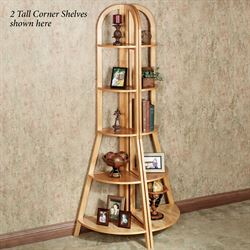 Kimber Tall Corner Shelf Only Natural Oak Five Tier