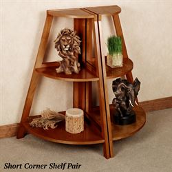 Kimber Short Corner Shelf Pair Mission Red Oak Three Tier