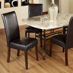 Kemper Faux Leather Chairs Espresso Set of Two