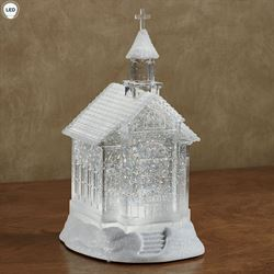 Swirl Lighted Church Figurine Clear