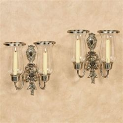 Nerissa Double Sconces Satin Nickel Pair