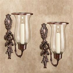 Nerissa Single Taper Sconces Polished Copper Pair