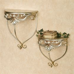Giorgianna Wall Shelves Champagne Gold Set of Two