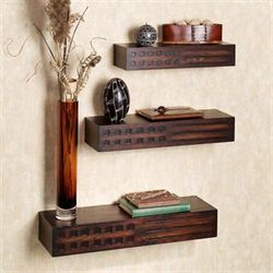 Wagner Wall Shelves Set Rich Mahogany Set of Three