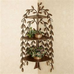 Marielle Tree Corner Wall Shelf Brown