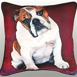 Baby Bulldog Pillow Multi Warm 18 Square