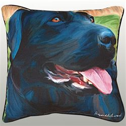 Handsome Black Lab Pillow Multi Warm 18 Square